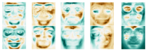 Some eigen-faces learned with the information sieve.